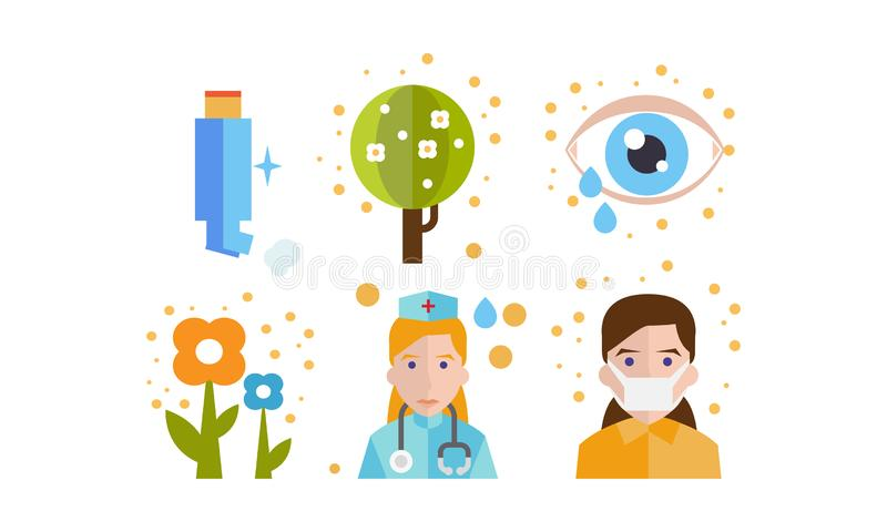 Allergy symptoms and treatment icons set, seasonal allergy to pollen, asthma vector Illustration on a white background stock illustration
