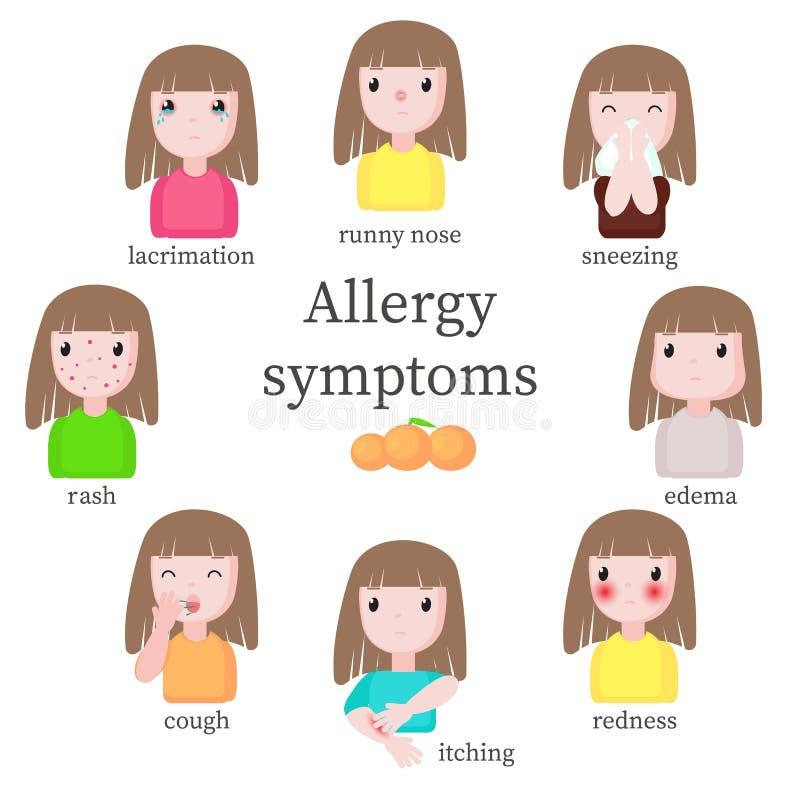 Allergy symptoms, vector flat style design isolated illustration vector illustration