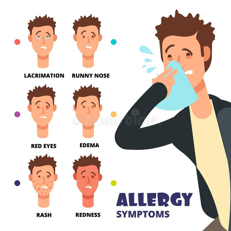 Allergy symptoms vector illustration - cartoon medical infographic stock illustration