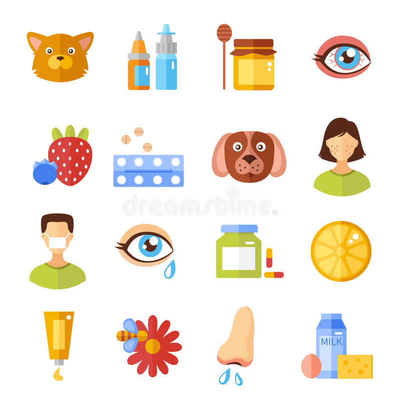 Allergy Types And Causes Icons royalty free illustration