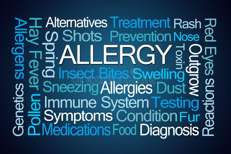 Allergy Word Cloud. On Blue Background stock illustration