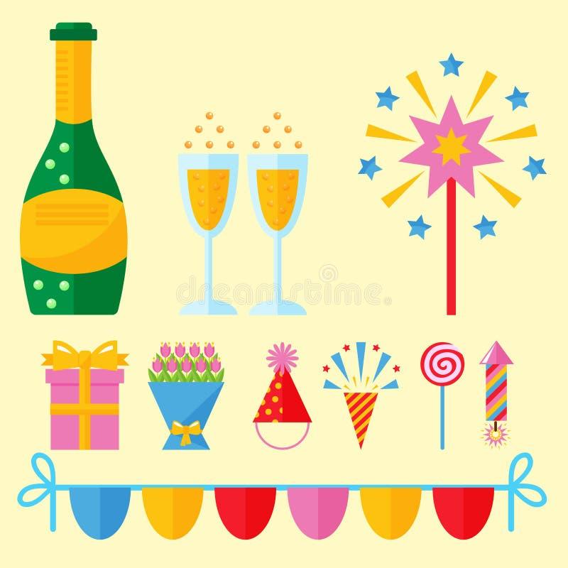 Alles- Gute zum Geburtstagüberraschungsdekorationsereignis-Jahrestagsvektor der Parteiikonenfeier vektor abbildung