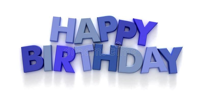 Alles Gute zum Geburtstag in den blauen Großbuchstaben stock abbildung
