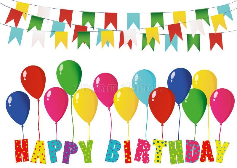 Alles Gute zum Geburtstag der bunten Buchstaben auf Ballonen Regenbogengirlande von Flaggen vektor abbildung