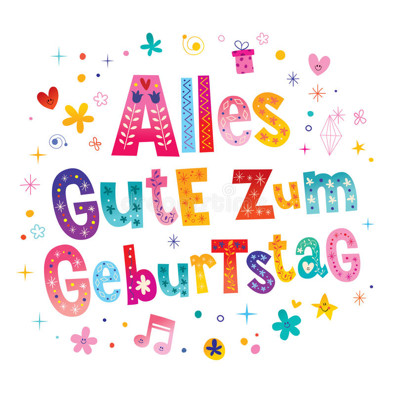 alles gute zum geburtstag deutsch german happy birthday stock vector illustration of text. Black Bedroom Furniture Sets. Home Design Ideas