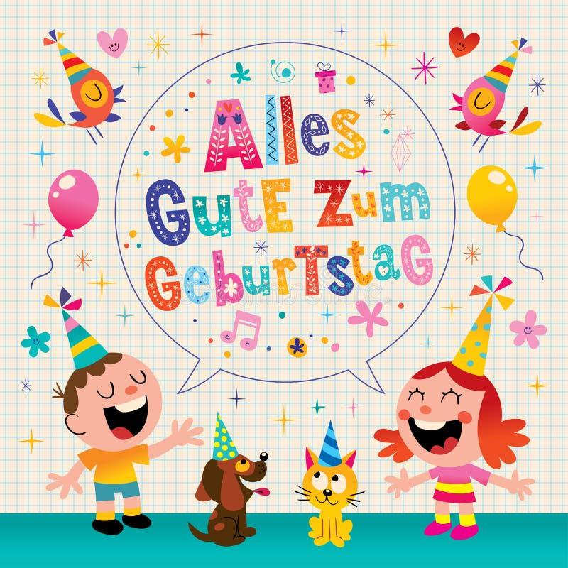 Alles Gute zum Geburtstag Deutsch wszystkiego najlepszego z okazji urodzin Niemiecki kartka z pozdrowieniami ilustracja wektor