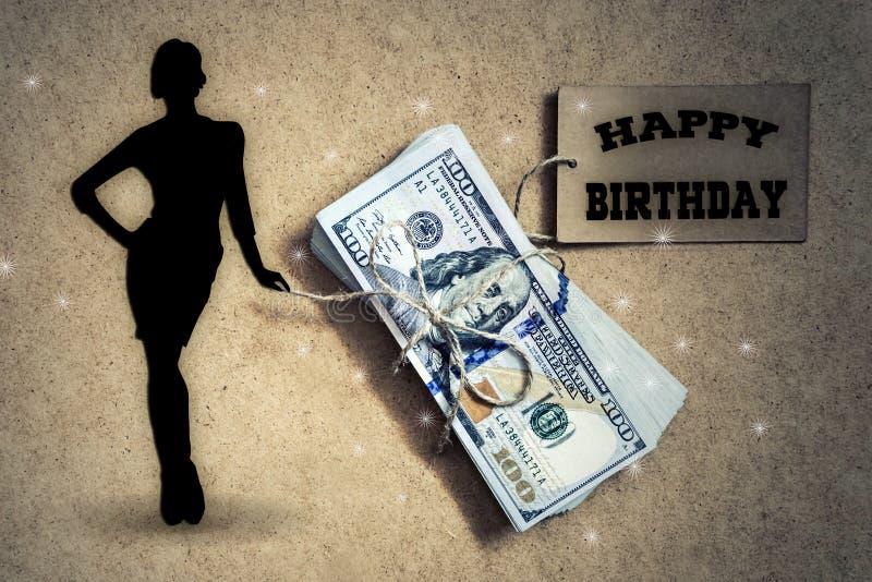 Alles Gute zum Geburtstag Dolars und Mädchenkartenfoto stockbild