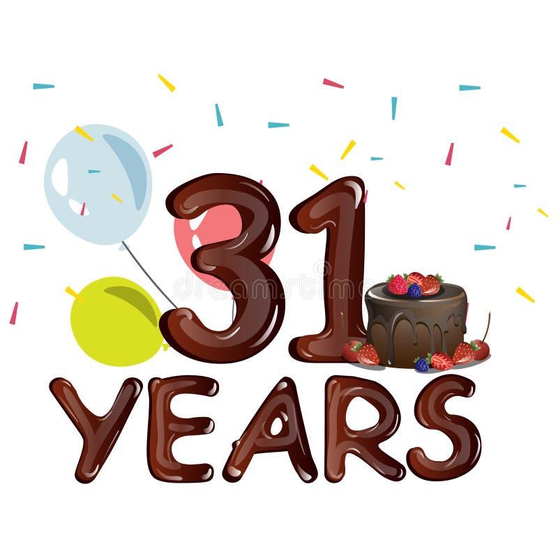 Alles Gute Zum Geburtstag Dreißig Eins 31 Jährig Vektor
