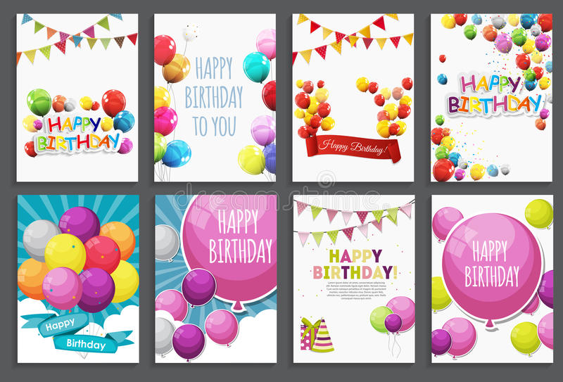 Alles Gute zum Geburtstag, Feiertags-Gruß und Einladungs-Karten-Schablone eingestellt mit Ballonen und Flaggen Auch im corel abge vektor abbildung