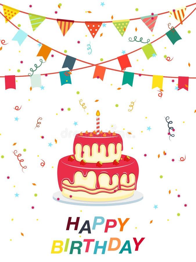 Alles Gute zum Geburtstag - flache Art des Kuchens und der Bandpartei Vektorillustrationsikone lokalisiert auf wei?em Hintergrund vektor abbildung