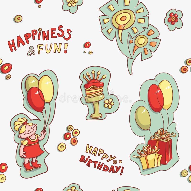 Alles Gute zum Geburtstag, Glück und Spaß des nahtlosen Musters vektor abbildung