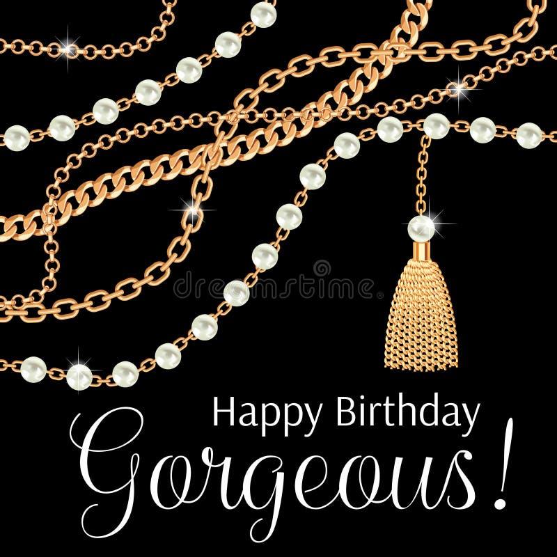 Alles Gute zum Geburtstag herrlich Grußkartenentwurf mit Birnen und goldener metallischer Halskette der Ketten auf Schwarzem stock abbildung