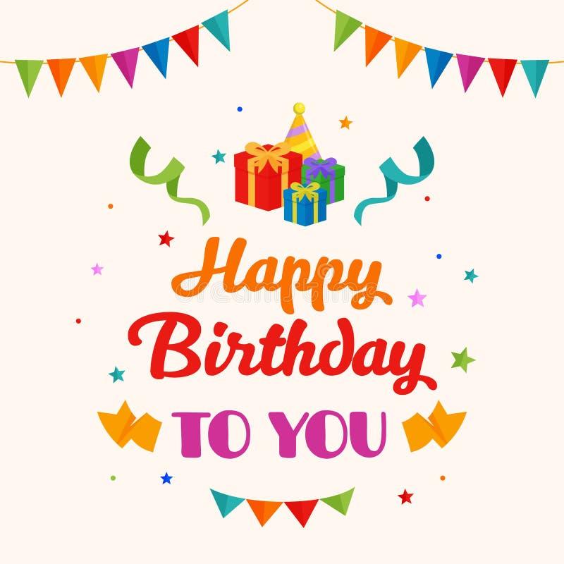Alles Gute zum Geburtstag Hintergrundvektor Geschenkbox, Parteihutillustration mit Flagge und Konfettiverzierung lizenzfreie abbildung