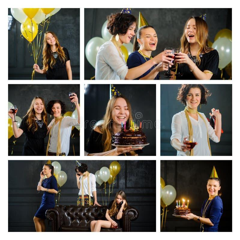 Alles Gute zum Geburtstag Junge Frauen feiern den Tag eines Freund ` s Geburtstages stockfotos