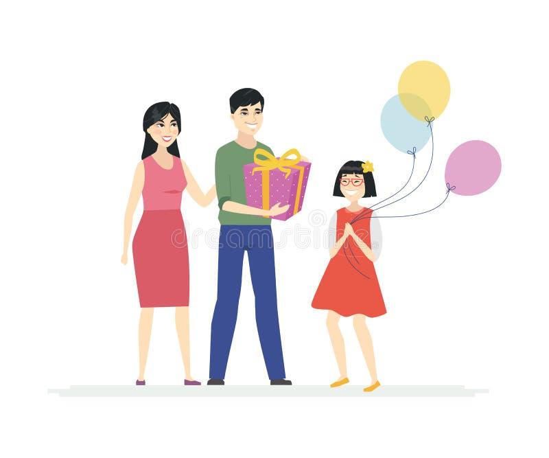 Alles Gute zum Geburtstag - Karikaturleutecharaktere lokalisierten Illustration stock abbildung