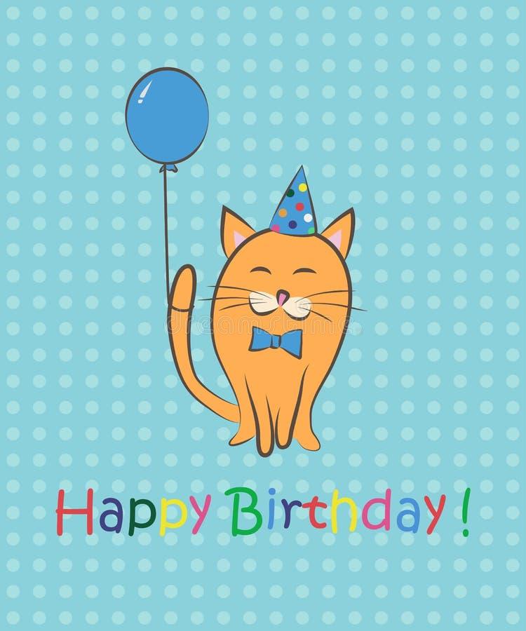 Alles Gute Zum Geburtstag Katze Mit Tulpen Färben Sie Karte Auch Im ...