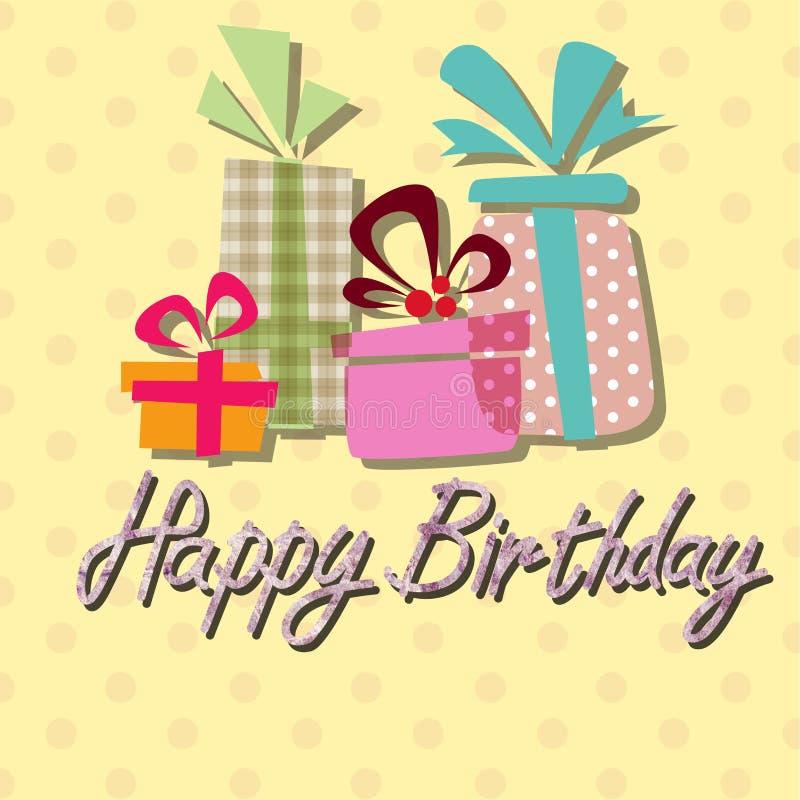 Alles Gute zum Geburtstag, kopierter Hintergrund der Handschrift Beschriftung stock abbildung