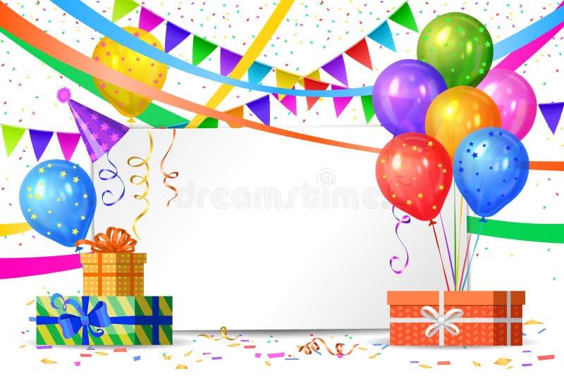 Alles Gute zum Geburtstag Luftballone, Geschenkkästen, Flaggen vektor abbildung