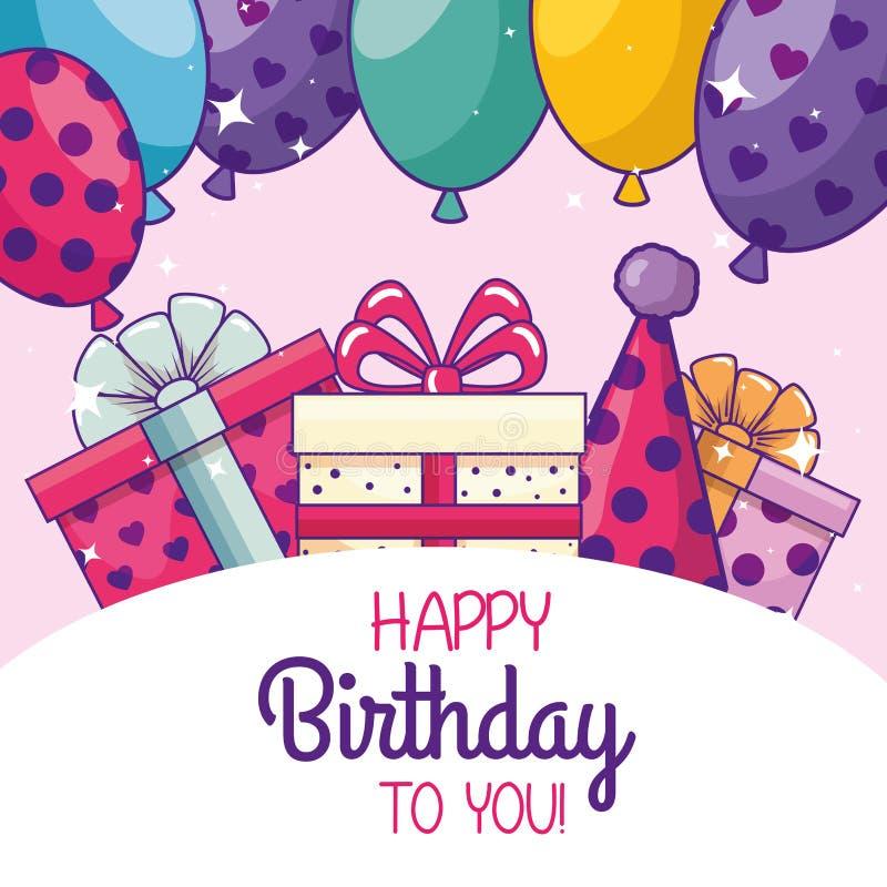 Alles Gute zum Geburtstag mit Ballonen und Parteihut lizenzfreie abbildung