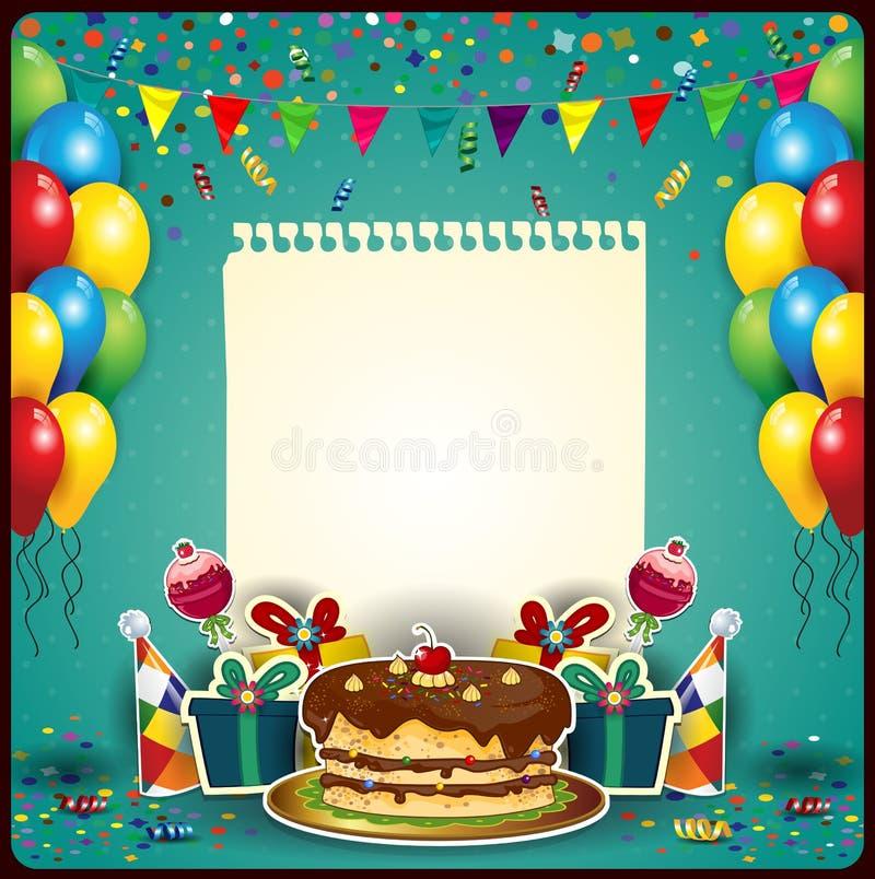 Alles Gute zum Geburtstag mit einem Blatt Papier stockfotografie