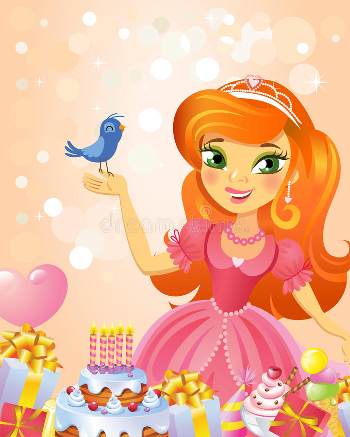 Alles Gute zum Geburtstag, Prinzessin, Grußkarte lizenzfreie abbildung