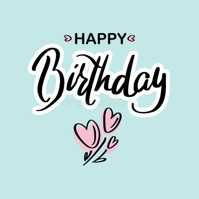 Alles Gute zum Geburtstag Schwarze Textbeschriftung der schönen Grußkarten-Kalligraphie mit rosa Herzen auf dem grünen Hintergrun stock abbildung
