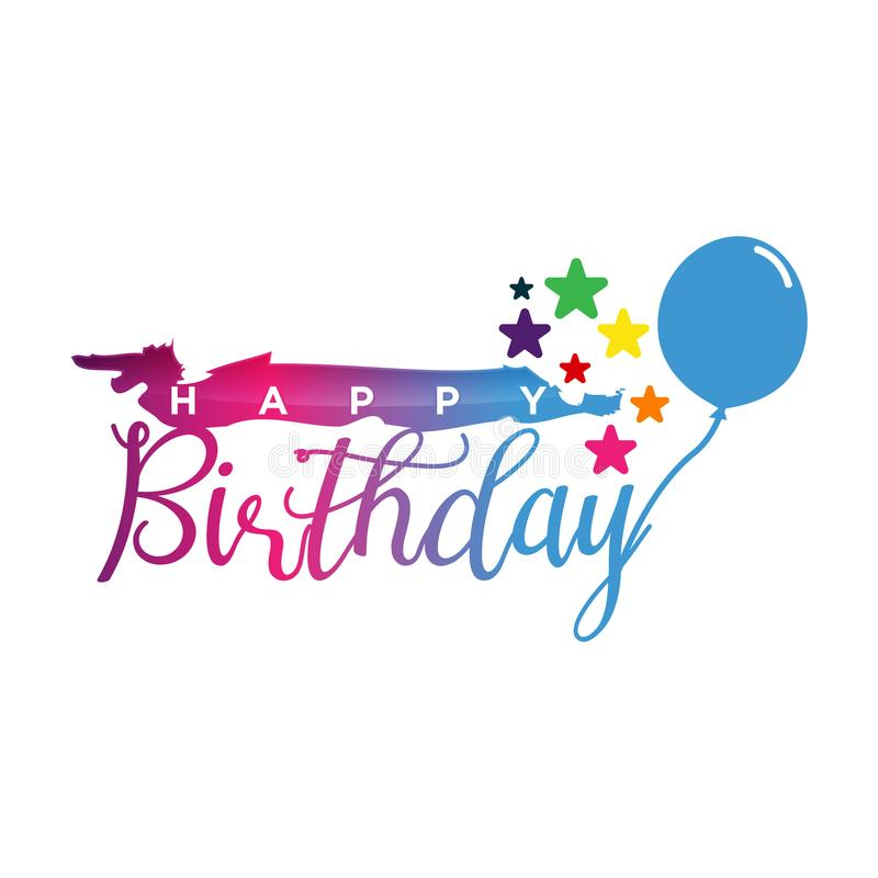 Alles Gute zum Geburtstag Sternherzballon Herz-Goldsternballon auf Hintergrund Bereifte Parteiballone für Ereignisdesign stock abbildung