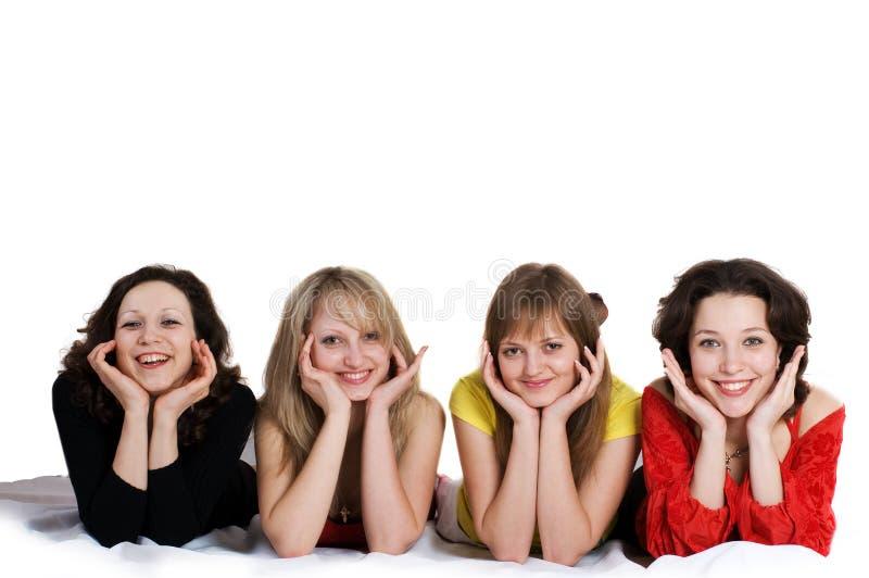 Alles Gute zum Geburtstag. Vier Freundinnen haben Spaß stockfoto