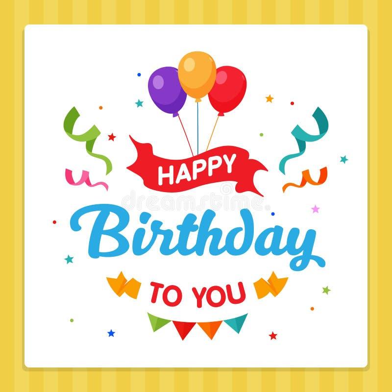 Alles- Gute zum Geburtstagaufkleber-Karten-Typografie mit Partei-Dekorations-Verzierung lizenzfreie abbildung