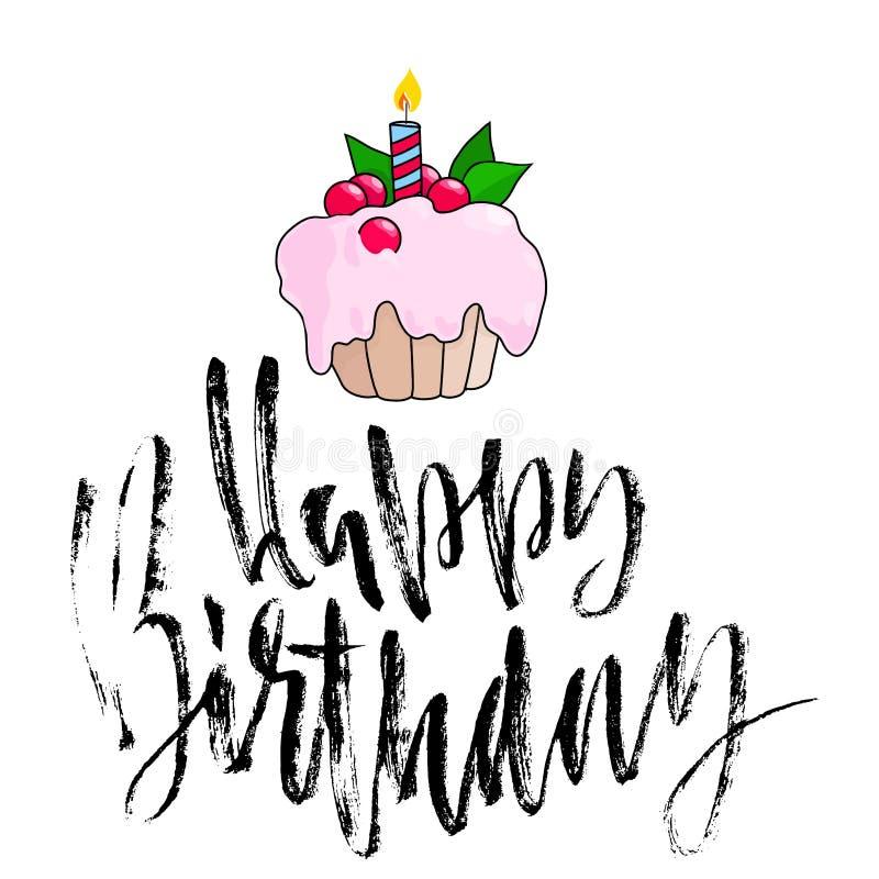 Alles- Gute zum Geburtstagbeschriftung für Einladungs- und Grußkarte Hand gezeichnete Aufschrift, kalligraphisches Design Vektor vektor abbildung