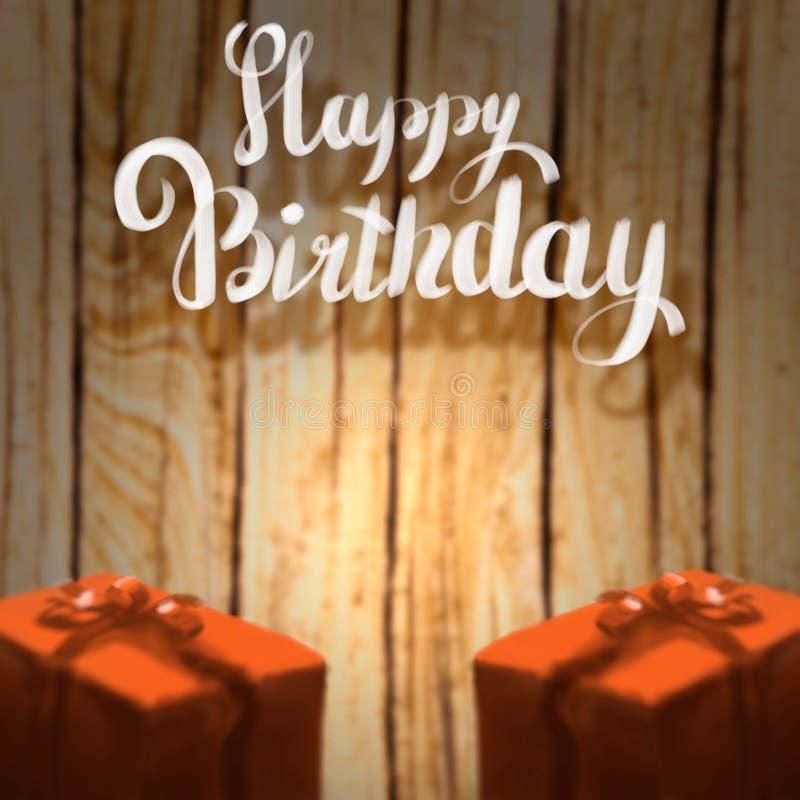 Alles- Gute zum Geburtstagbeschriftungsillustration mit dem Band mit zwei Geschenkboxen eingewickelt auf dem hölzernen unscharfen lizenzfreie abbildung