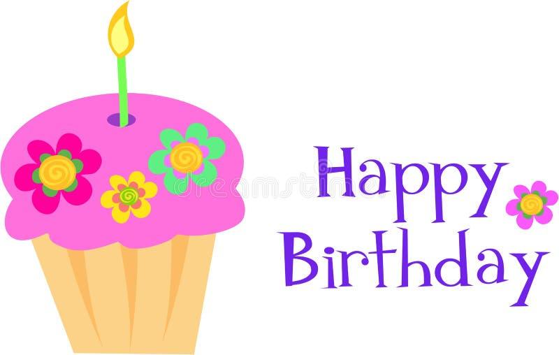 Alles- Gute zum Geburtstagblumen-kleiner Kuchen stock abbildung