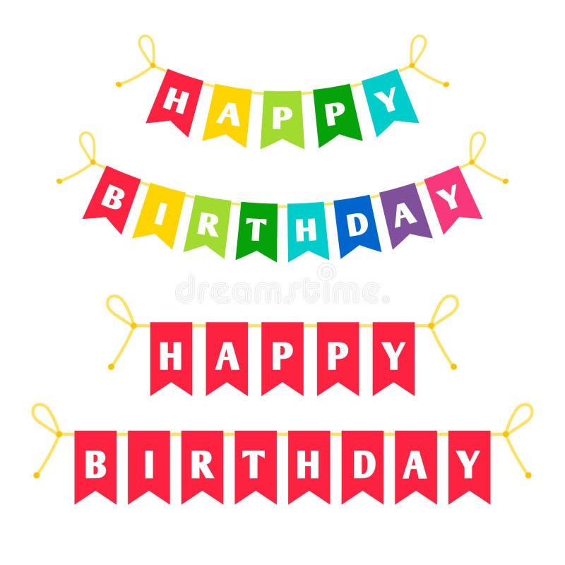 Alles- Gute zum Geburtstagbuchstaben, die Flaggen bounting sind vektor abbildung