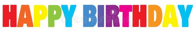Alles- Gute zum Geburtstagfahne Letering Regenbogenfarbe stockfoto