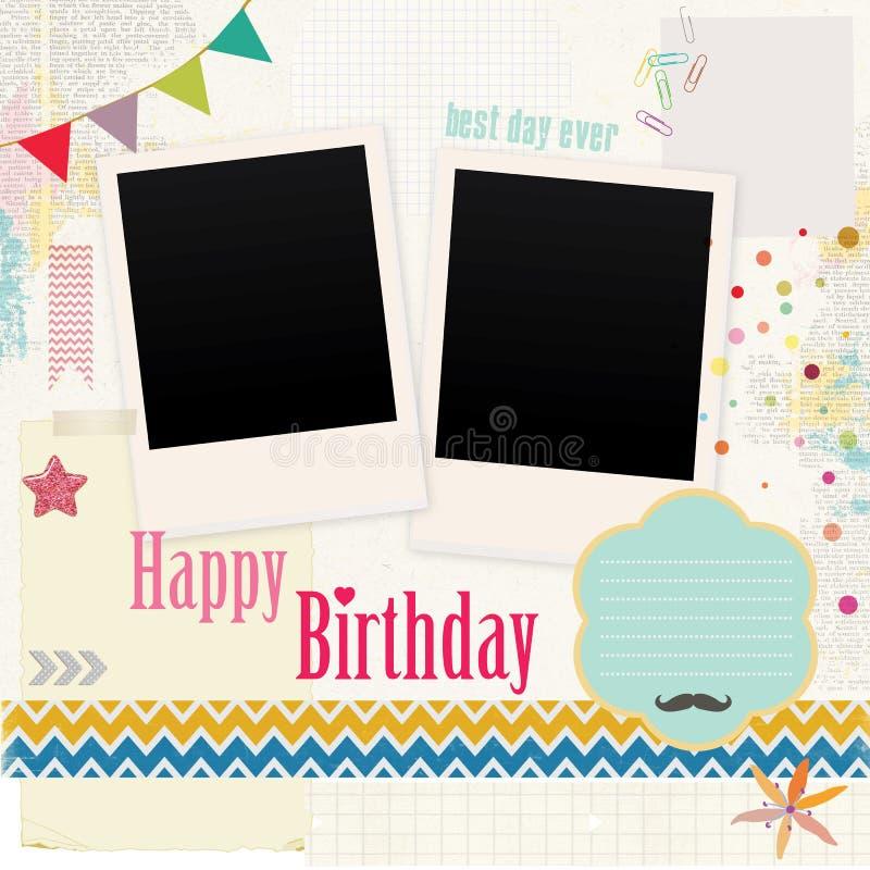 Alles- Gute zum Geburtstagfoto-Einklebebuch stock abbildung