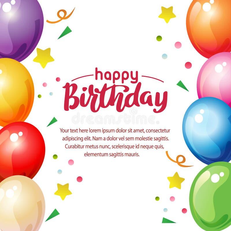 Alles- Gute zum Geburtstaggrenze mit klarem Ballon vektor abbildung