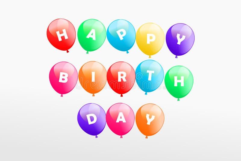 Alles- Gute zum Geburtstaggruß auf buntem fliegendem Ballongeburtstagszeichen stockfotografie