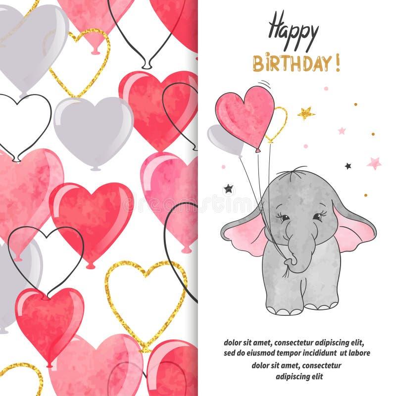 Alles- Gute zum Geburtstaggruß-Kartendesign mit nettem Babyelefanten und -herzen steigt im Ballon auf lizenzfreie abbildung