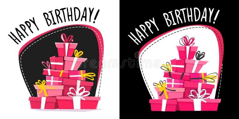 Alles- Gute zum Geburtstaggruß-Kartenentwurf, catroon lustiges Artauto mit Geschenken, neue flache Vektorillustration rosa weißes lizenzfreie abbildung