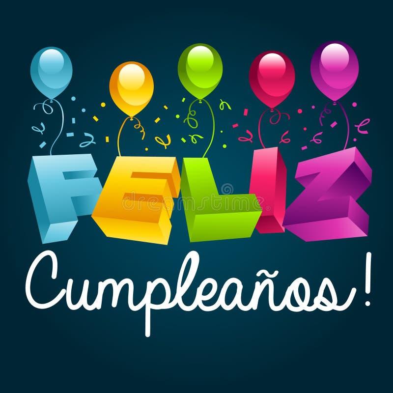 Alles Gute zum Geburtstag auf spanisch lizenzfreie abbildung