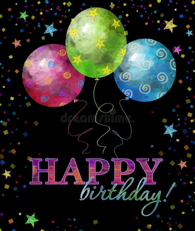 Alles- Gute zum Geburtstaggrußkarte mit Text, Tropfen und Sternen in den hellen Farben Enthält transparente Nachrichten lizenzfreie abbildung