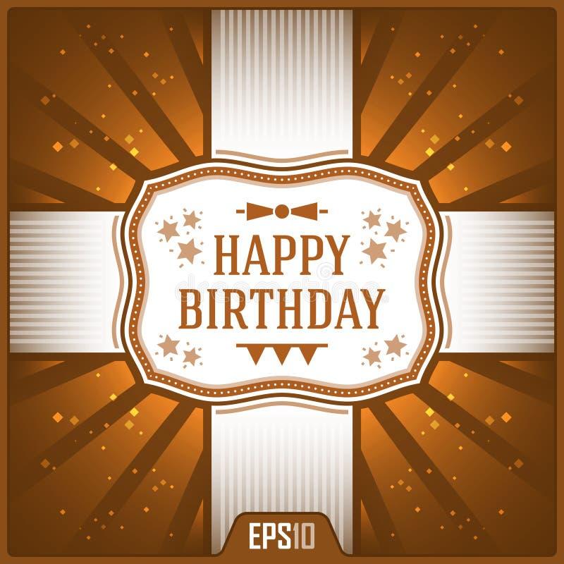 Alles Gute zum Geburtstaggrußkarten Einkaufsumbauten und -ikonen Feier-Band-Illustration lizenzfreie abbildung