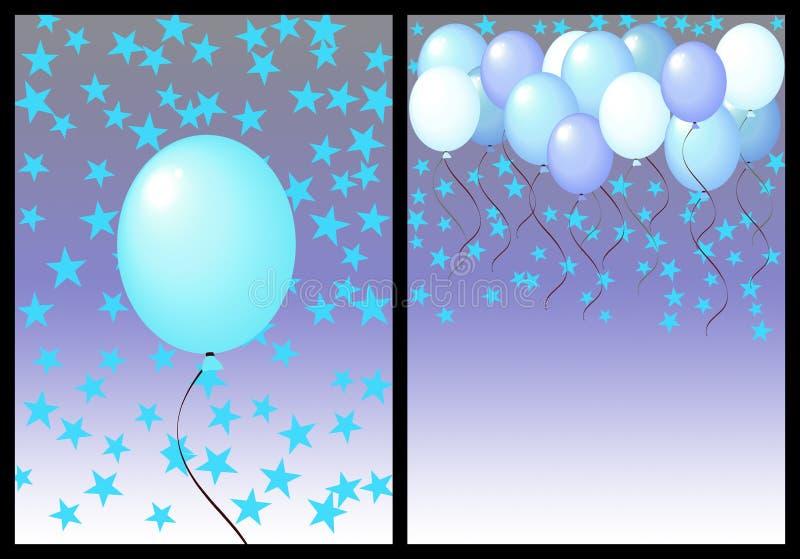 Alles Gute zum Geburtstaggrußkartenfrontseite und -rückseite. Mann lizenzfreie abbildung