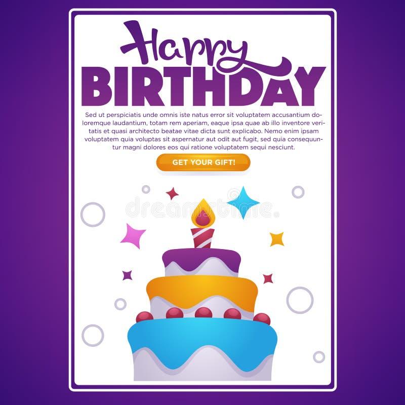 Alles- Gute zum Geburtstaggrußschirm für Ihren mobilen App, Vektorhintergrund mit Bild des Geburtstagskuchens, Kerze, Sterne und  lizenzfreie abbildung