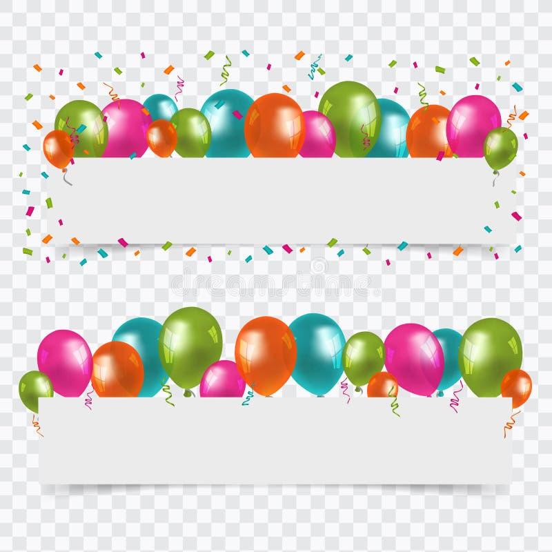 Alles- Gute zum Geburtstaghintergrund mit Leerstelle und den Ballonen - bunte Vektor-Illustration - lokalisiert auf transparentem lizenzfreie abbildung