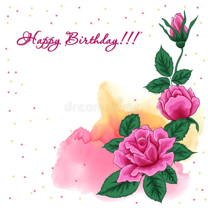 Alles- Gute zum Geburtstaghintergrund mit Rosen lizenzfreie abbildung