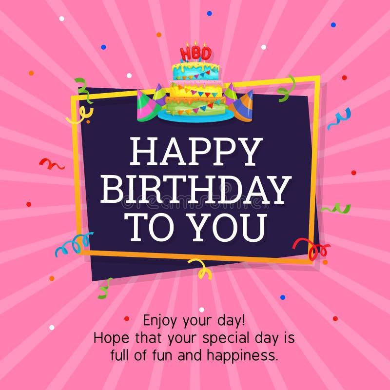 Alles- Gute zum Geburtstaghintergrund-Schablone mit Geburtstags-Kuchen-Illustration stock abbildung