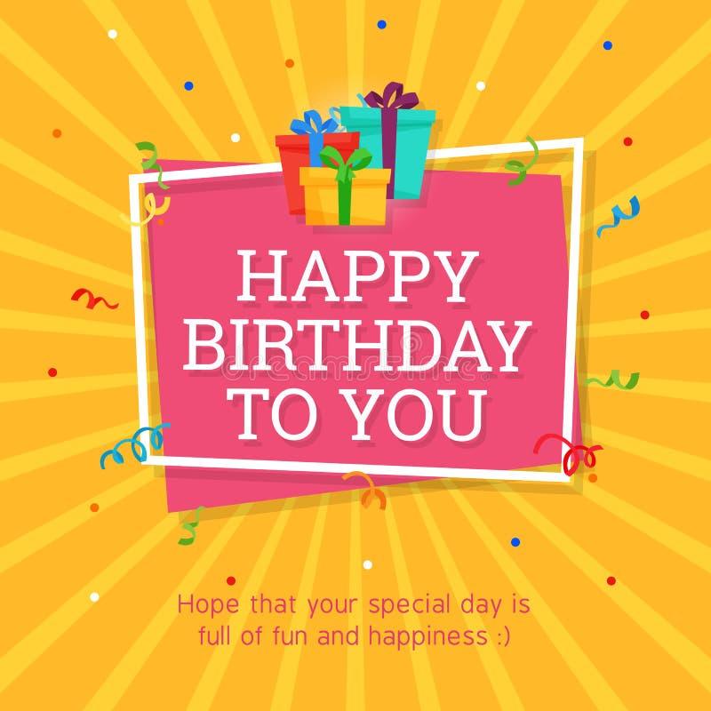 Alles- Gute zum Geburtstaghintergrund-Schablone mit Geschenkbox-Illustration lizenzfreie abbildung
