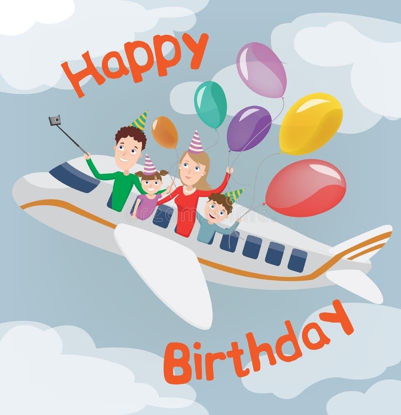 Alles Gute zum Geburtstagkarte Familie in der Fläche Glückliche Familie mit Ballonen vektor abbildung
