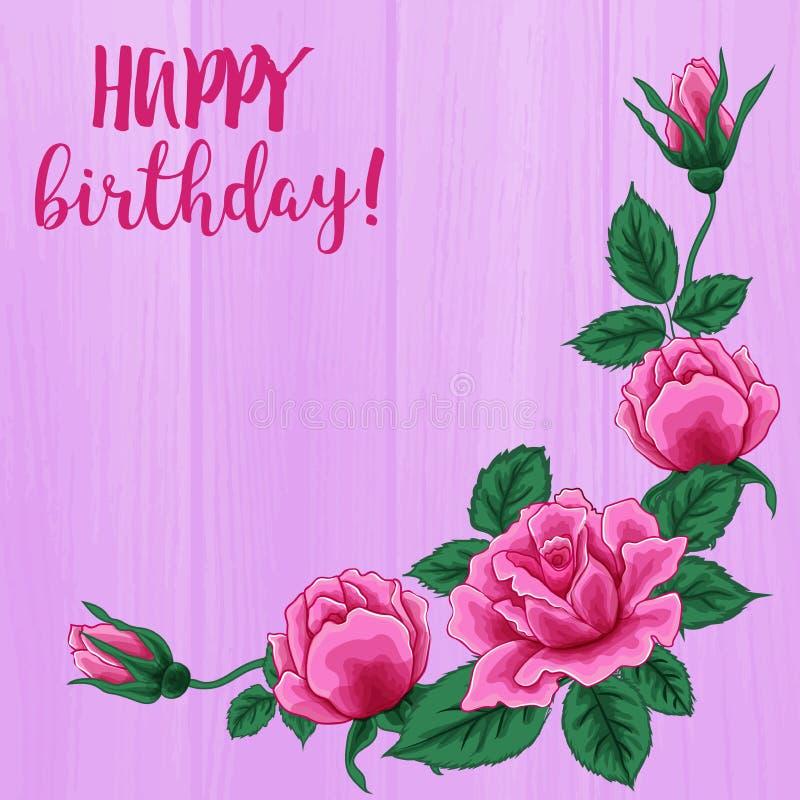 Alles Gute zum Geburtstagkarte Schöner Rosenblumenstrauß auf rosa hölzerner Beschaffenheit stock abbildung